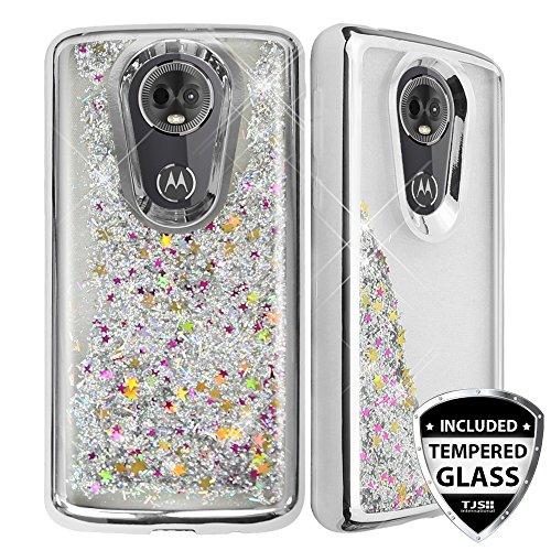 TJS Motorola Moto E5 Plus/E5 Supra/E Plus 5th Gen Case, with [Full Coverage Tempered Glass Screen Protector] Glitter Liquid Chrome Bump Hybrid Shockproof Protector Motion Phone Armor Case (Silver)