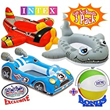 "Intex Inflatable Boat Pool Cruisers Airplane, Race Car & Shark Gift Set Bundle with Bonus ""Matty's Toy Stop"" 16"" Beach Ball - 3 Pack"