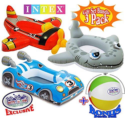 Intex Inflatable Boat Pool Cruisers Airplane, Race Car & Shark Gift Set Bundle with Bonus