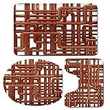 3 Piece Bath Mat Rug Set,Copper-Decor,Bathroom Non-Slip Floor Mat,Knot-of-Copper-Pipes-Complex-Entangled-Lines-Hardware-Industry-Inspired-Decorative,Pedestal Rug + Lid Toilet Cover + Bath Mat,Bronze-W
