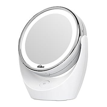 kealive espejo de maquillaje iluminado de aumento x x espejo con luz grados de
