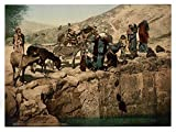 Historic Photos Bedouins drawing water, Holy Land