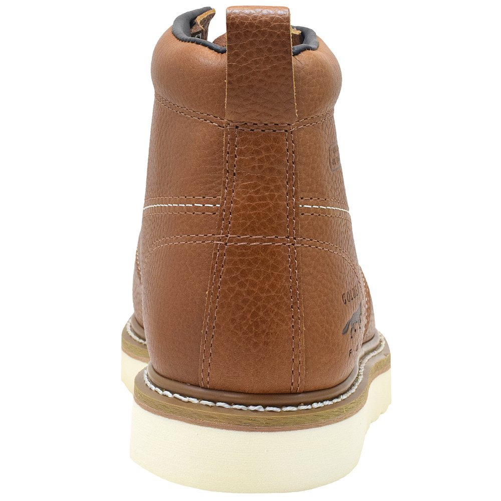 Golden Fox Steel Toe Work Boots Mens 6 Moc Toe Wedge Comfortable Boots for Construction