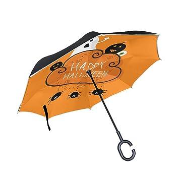 ALAZA feliz Halloween Ghost calabaza globo ocular arañas Inverted paraguas paraguas plegable de doble capa resistente
