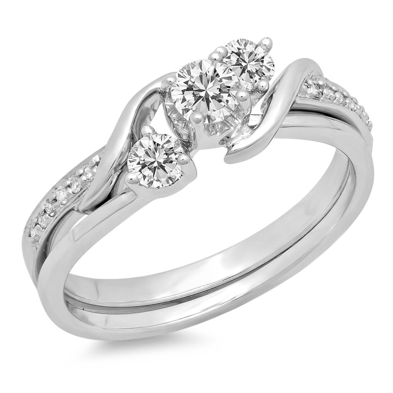 0.50 Carat (ctw) 10K Gold Round Diamond Swirl Bridal 3 Stone Engagement Ring Matching Band Set 1/2 CT