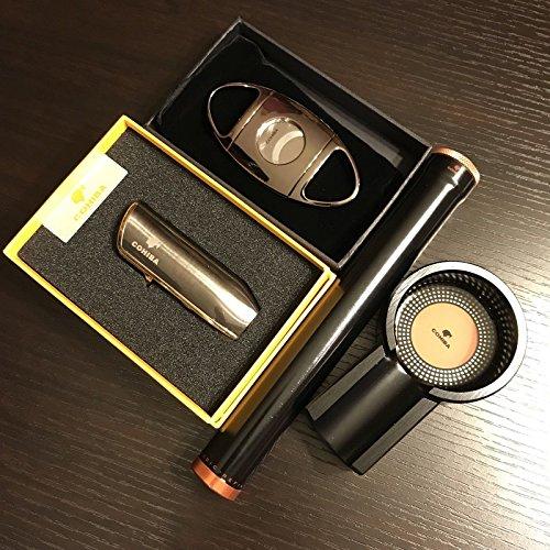 Black Titanium Cigar Humidor Tube & Ashtray &Lighter & Cutter Gift Set B ()