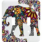 Colorful Elephant Mosaic Double Toggle Light Switchplate