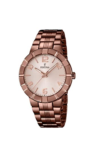 Festina F16715/1 - Reloj de Pulsera Mujer, Acero Inoxidable Chapado, Color marrón