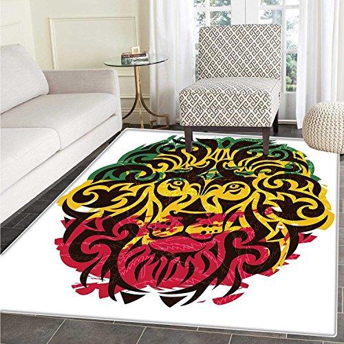 Rasta Area Rug Carpet African Ethiopian Culture Wild Lion He