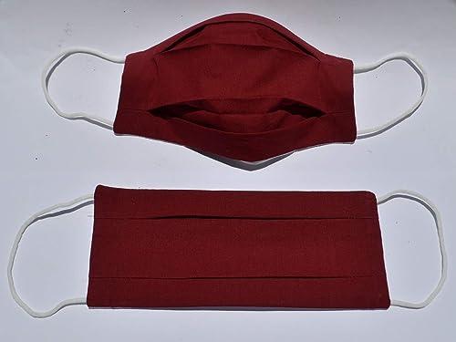 1x Gesichtsmaske Mundschutz mit Nasenbügel waschbar Handarbeit Rot
