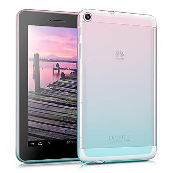 kwmobile Funda para Huawei MediaPad T1 7.0 - Carcasa trasera para tablet de silicona TPU - Cover en rosa fucsia / azul / transparente