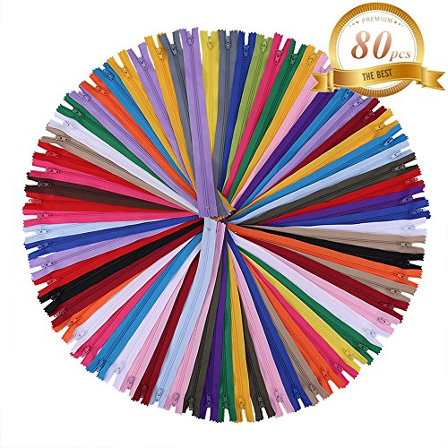 16 inch Zippers - Assorted Color Nylon Coil Zippers Bulk - Supplies for Tailor Sewing Crafts - Pack of (Sewing Zipper)