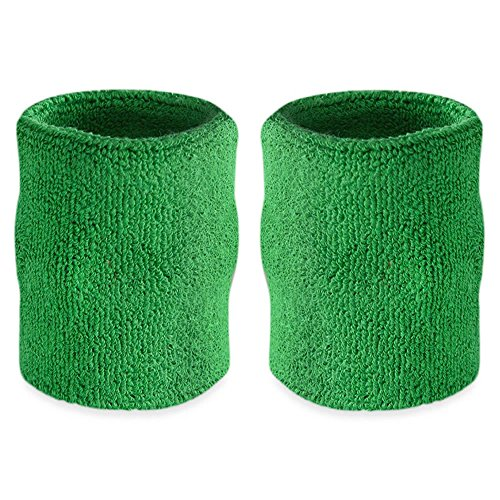 Suddora 4' Inch Sport Arm Sweatbands - Athletic Cotton Armbands Pair (Green)