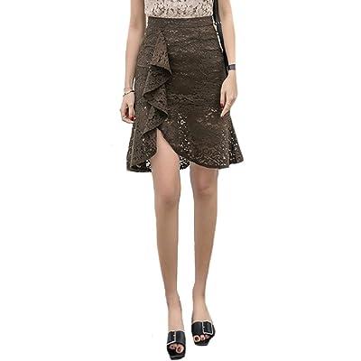 Abetteric Women's Summer Falbala Mermaid Tail Lace Hollow Summer High Waist High Stylish A-Line Pencil Skirt