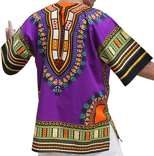 RaanPahMuang Unisex Bright Coloured African Dashiki Cotton Plus Shirt