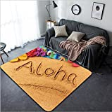 Vanfan Design Home Decorative Aloha Hawaii beach Modern Non-Slip Doormats Carpet for Living Dining Room Bedroom Hallway Office Easy Clean Footcloth