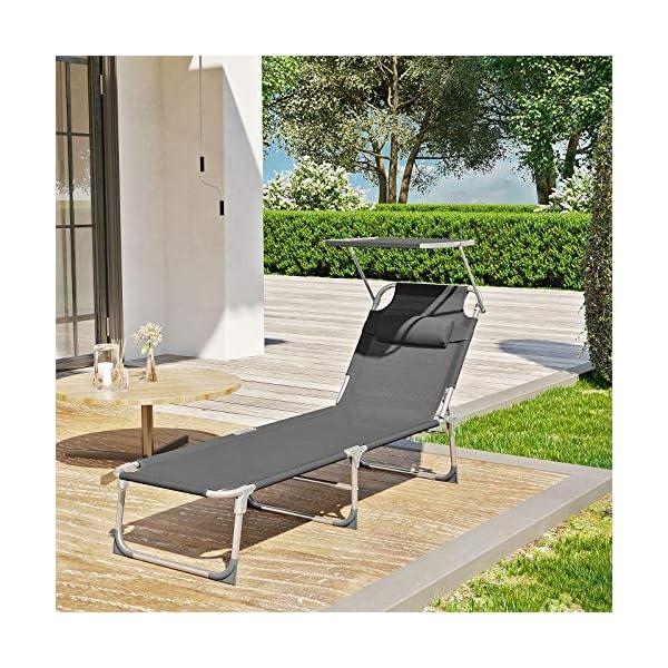 611YRGur2VL SONGMICS Sonnenliege, Liegestuhl, Gartenliege, mit Kopfstütze und Sonnendach, Rückenlehne verstellbar, leicht, klappbar…