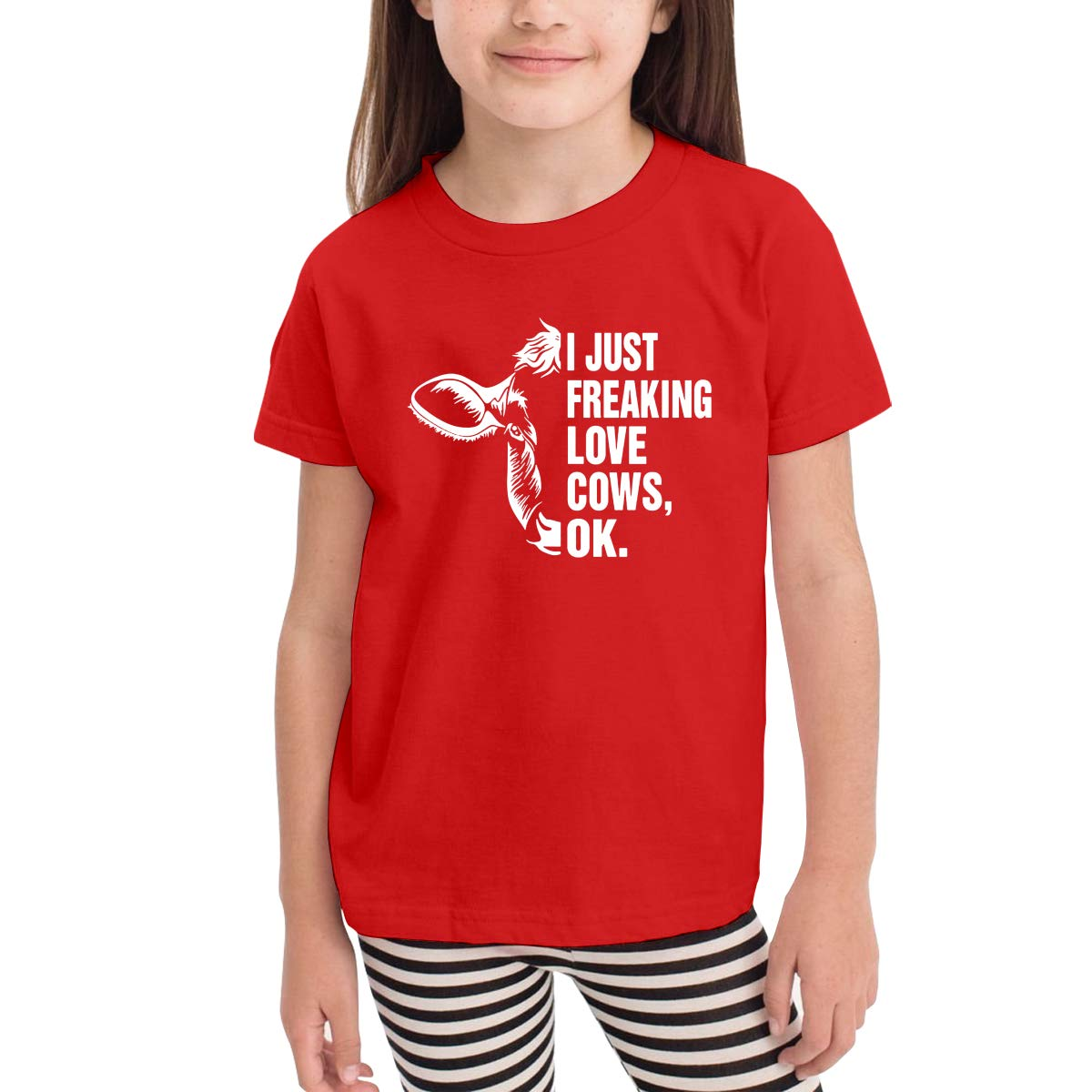 Ok Unisex Youths Short Sleeve T-Shirt Kids T-Shirt Tops Black I Just Freaking Love Cows