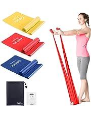 OMERIL Bande Elastiche Fitness (3 Pezzi), 1,5 m Fasce Elastiche con 3 Livelli di Resistenza, Fascia Elastica Esercizi Ideale per Yoga, Pilates, Allenamento di Forza, Fisioterapia e Riabilitazione