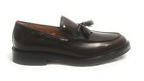 ANTICA CUOIERIA - Mocasines de Cuero para Hombre Morado Burdeos: Amazon.es: Zapatos y complementos