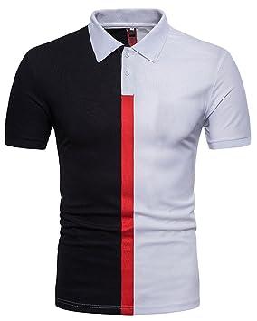 Yonglan Polo Hombre Manga Corta con Botones Camiseta Deportivo ...