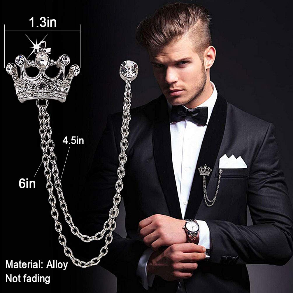Brooches Pin for Men Shirts Collar Chain Brooch Pin Lapel Stick