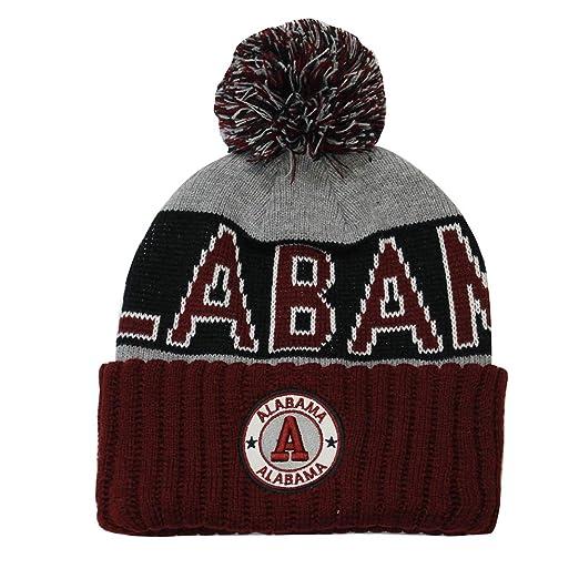 b9ac946c4b999 Football City Pom Beanie Premium Embroidered Patch Winter Soft Thick Beanie  Skully Hat (Alabama)