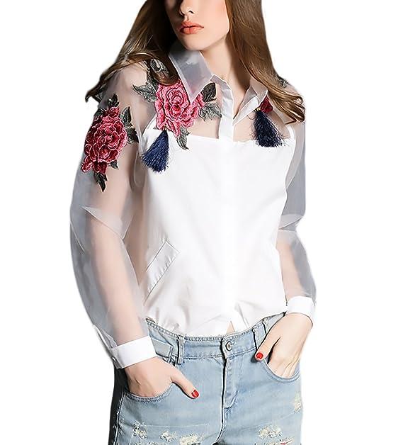 Battercake Camisas Mujer Elegantes Manga Larga Cuello Solapa Un Solo Pecho Bordadas De Casuales Mujeres Flores