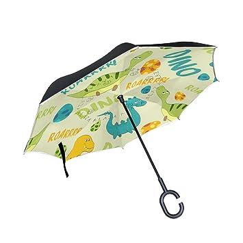 BENNIGIRY - Paraguas exterior negro de dibujos animados con dinosaurio UV – sombrilla ligera y antiviento