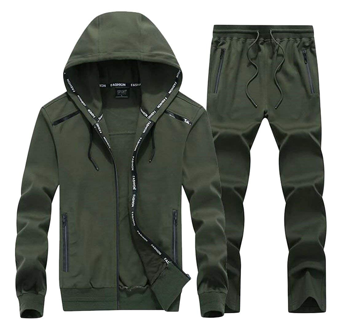 Army Green XLarge JWK Men's Casual Athletic Hooded Activewear Jacket Big and Tall Sweatpants 2PCS Tracksuit Set