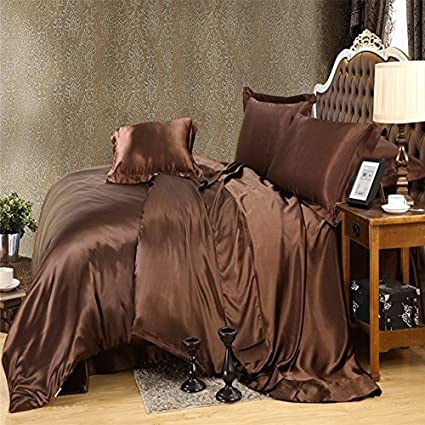 Amazing Brown Gold Color Luxury Silk Bedding Set King Queen Size Solid Color Brief  Style Duvet Cover