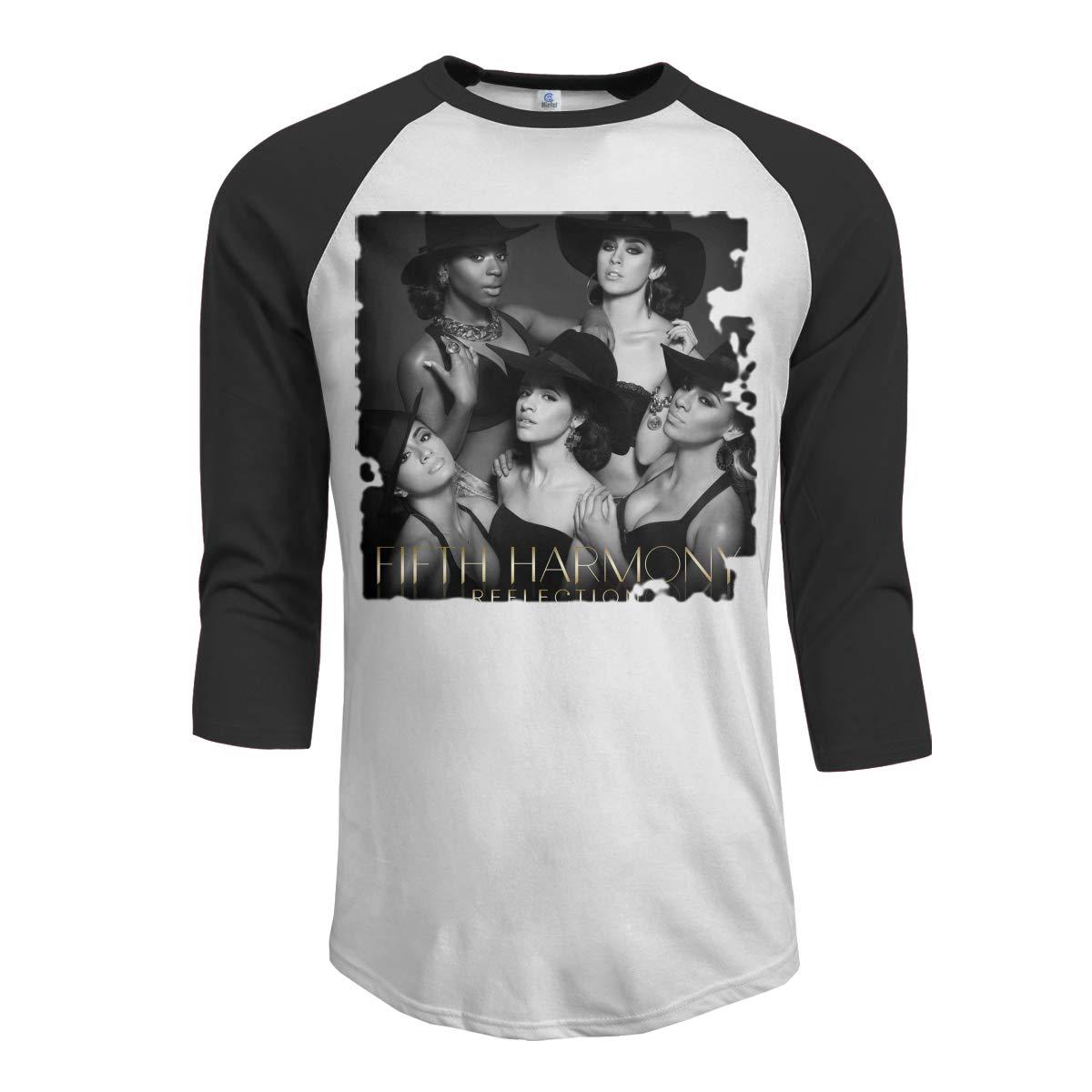 JeremiahR Fifth Harmony Reflection Mens 3//4 Sleeve Raglan Baseball Tee Black