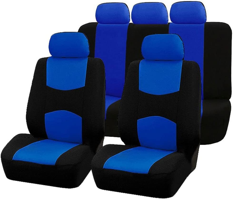 Beauneo 9PCS Automobiles Seat Covers Full Car Seat Cover Universal Fit Interior AccESSories Protector Car-Styling:Blue