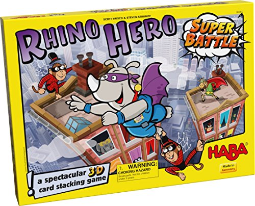 HABA Rhino Hero Super Battle - A Turbulent 3D Stacking Game Fun for All (Spider Tower)