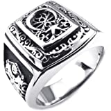 Konov Jewellery Mens Stainless Steel Ring, Classic Gothic Star Moon, Color Black Silver (with Gift Bag)