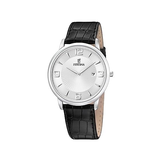 FESTINA F6806/1 - Reloj de caballero de cuarzo, correa de piel color negro: Amazon.es: Relojes