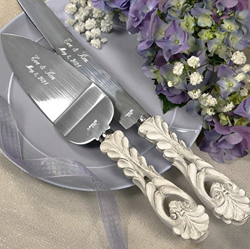 Personalized, ENGRAVED Baroque Antique Ivory Cake Serving Set
