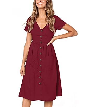 Women's Causal Solid V Neck Short Sleeve Button Down Swing Midi Dress With Pockets by Mojessy