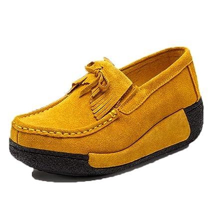 ZHRUI Zapatos Mocasines con borlas de Mujer Zapatos Mocasines con Cordones de Plataforma (Color :