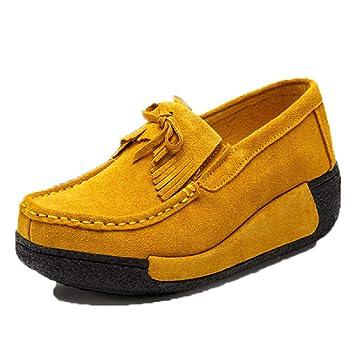 Qiusa Zapatos Mocasines con borlas de Mujer Zapatos Mocasines con Cordones de Plataforma (Color : Amarillo, tamaño : EU 39): Amazon.es: Hogar