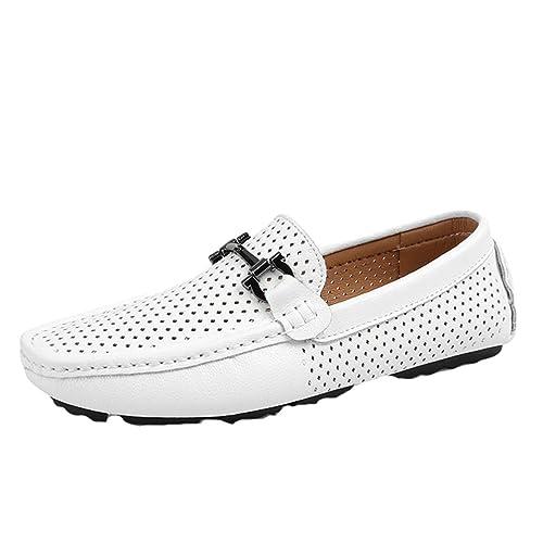 Nuoxiang Barcos Zapatos De PU Cuero Hombre Plano Respirable Hueco Loafers Slip On Mocasines de Conducción Blanco: Amazon.es: Zapatos y complementos