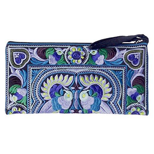 Sabai Jai - Embroidered Ethnic Clutch Purse Handbag for Women - Handmade Boho Bird Flower Wristlet