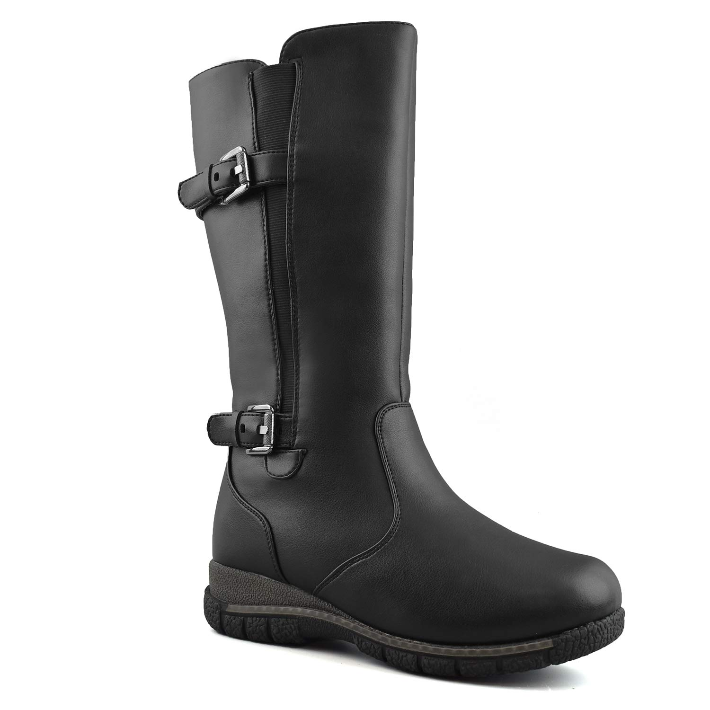 Comfy Moda Women's Winter Snow Boots 3M Thinsulate Super Warm Comfy Wide Fitting Calf Toe Box Memory Foam Temperature Rating -30°C / -22°F- Boston