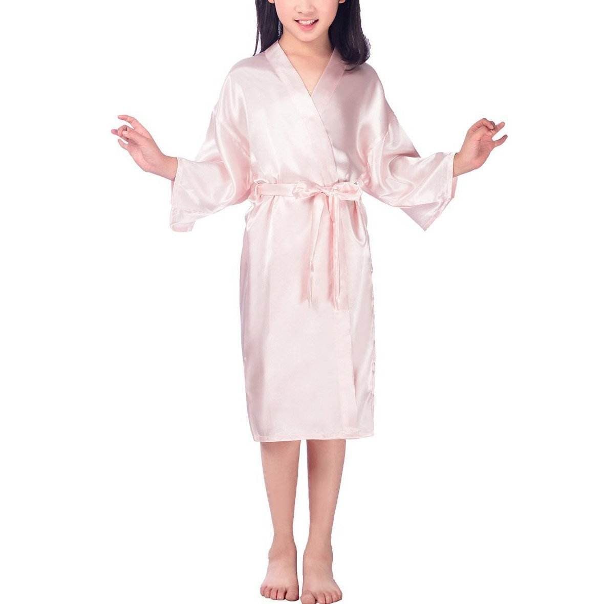 UQ Girls' Satin Solid Color Robe For Party Wedding Bridesmaid Sleepwear