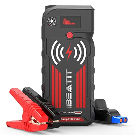 BEATIT G18 QDSP 2000Amp Peak 12V Portable Jump Starter (Up to 8.0L Gas and Diesel Engine) 21000mAh Power Bank With Wireless Charger Smart Jumper ...