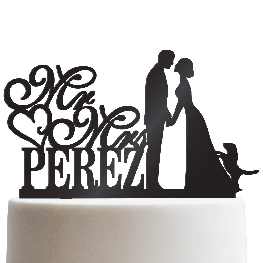 Groom Bride and Puppy Wedding Cake Topper Custom Made Wedding Favor Mr Mr With Dog Cake Topper for Wedding | Solid Color Cake Toppers