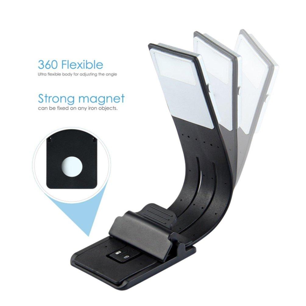 Luz para el cuidado de los ojos HONWELL L/ámpara de lectura con clip LED Luz de libro USB recargable 2 configuraciones de brillo para protecci/ón ocular,Lavanda Luz de lectura para libros en la cama