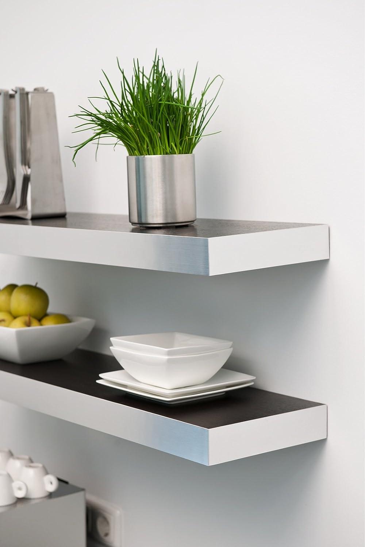 ebenholz Fetim 1150980 Schwebendes Wandregal Aluminiumkante 120 cm-BOrganised