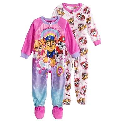 538388403 AME Paw Patrol Chase, Marshall & Skye Footed Sleeper Pajamas Sleeper Pajamas  (2-