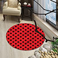 Red and Black small round rug Carpet Retro Vintage Pop Art Theme Old 60s 50s Rocker Inspired Bold Polka Dots ImageOriental Floor and Carpets Scarlet